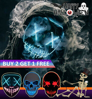 LED Cosplay Mask Halloween EL Wire Light Up Party Scary Skull Masks The Purge AU