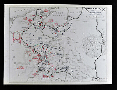 West Point WWII Map Poland Campaign German Invasion Cracow Pomorze Sept 1-5 1939