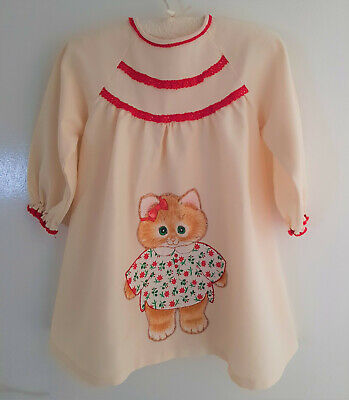 VERY SWEET, VINTAGE HANDMADE BABY / TODDLER'S DRESS with APPLIQUED KITTEN
