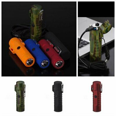 Outdoor Double Arc Plasma USB Windproof  Lighter Electric Pulsed fashlight