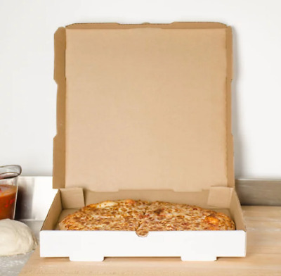 "Corrugated Pizza Bakery Box Plain White 14"" x 14"" x 1 3/4""Size Durable 50/Bundle"