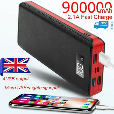 600000mAh 4 USB Backup External Battery Power Bank Pack Charger for Cell Phone