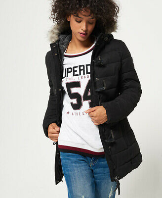 New Womens Superdry Microfibre Tall Toggle Puffle Jacket Black