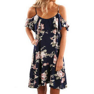 Women Casual Boho Style Floral Printed Off Shoulder Sling Summer Dress CZ
