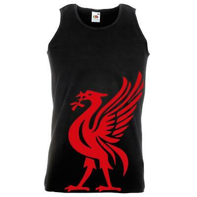 Unisex Black Liverpool Liver Bird Mascot Vest Red Print YNWA Football Red Print
