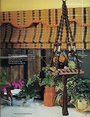 Mid-Century 1970's Hanging Macrame Shelf Pattern New and Easy Designs Book HH39
