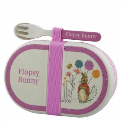 Official Beatrix Potter Organic Snack Box with Cutlery Flopsy Rabbit