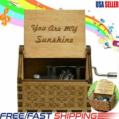 """Wooden Music Box """"You Are My Sunshine"""" Engraved Musical Case Toys Kids Gifts USA"""