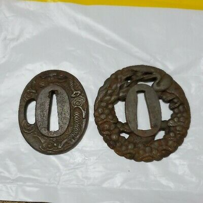 Tsuba Edo Dragon 2 Set Lot signed 山城国京橋住備後弥左衛門 Japanese Samurai Antique Sword