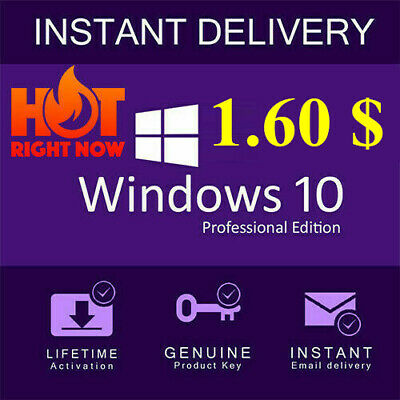 INSTANT WINDOWS 10 Pro Professional 32/64bit Genuine License Key Product CodeOEM