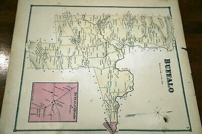 1868 Beers Union & Snyder Counties Atlas Map Of Buffalo Township-Handcolored