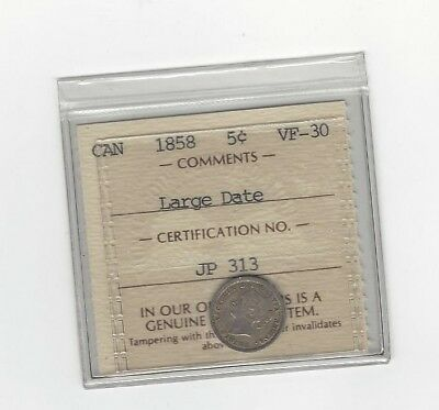 **1858 Large Date 8/8, LD RP2**, ICCS Graded Canadian,  5 Cent, **VF-30**