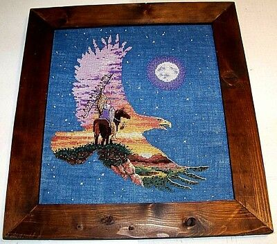 Framed Eagle collage counted cross-stitch moon mountains - mounted warrior
