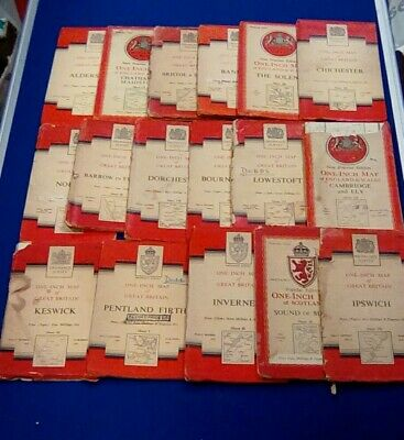 37x Ordnance Survey One Inch Maps of Britain 1940's, 50's, 60's