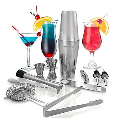 12Pc Stainless Steel Cocktail Shaker Mixer Drink Bartender Kit Martini Tools Bar