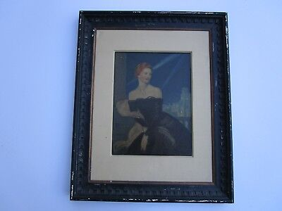Antique Art Deco Painting Portrait Woman And Big City Night Pretty Female Model