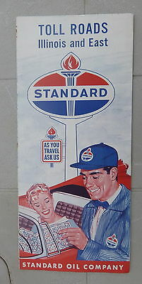 1960 Toll Roads  Illinois to New York road  map Standard of Indiana  oil gas