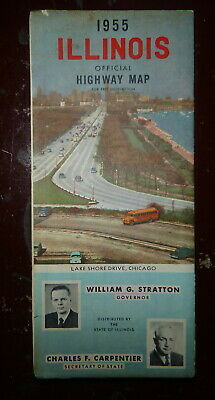 1955 Illinois  official highway road  map  oil  gas route 66 Lake Shore Drive