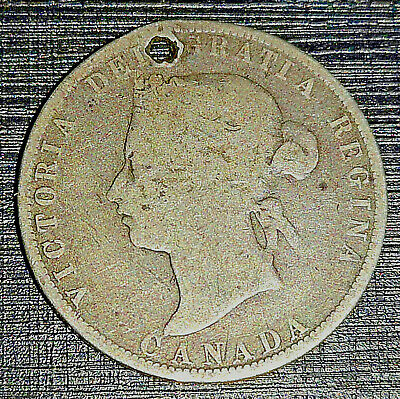 1871 Canada Queen Victoria Solid Silver Cent Coin Antique Vintage Old Victorian
