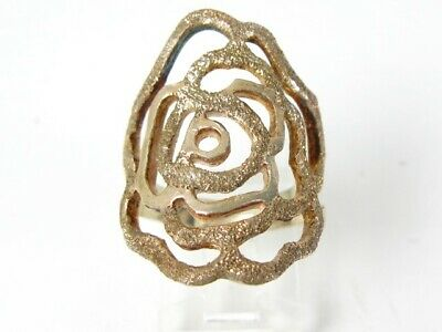 Vintage Sterling Silver Textured Open Rose Ladies Ring 7.8g