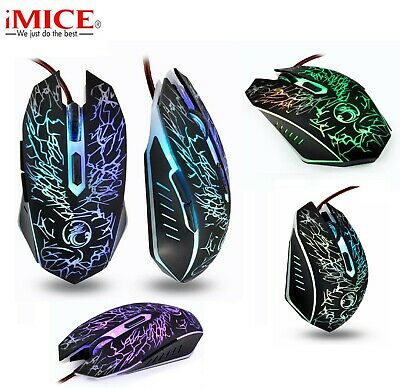 Gaming Mouse 5 Buttons 3200 DPI USB LED Optical Wired Computer Laptop UK STOCK