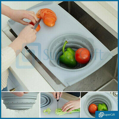 Over The Sink Kitchen Chopping Cutting Board With Collapsible Colander
