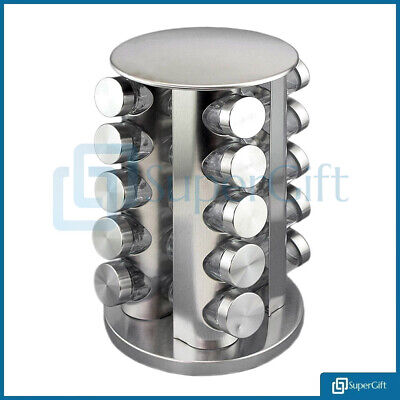 20 Jar Revolving Rotating Spice Rack Glass Jars Chrome Lids Round Supergift