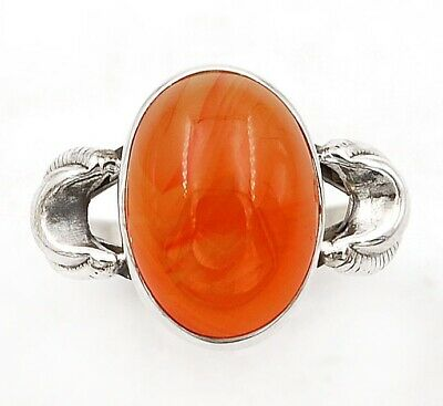 Natural Carnelian 925 Solid Sterling Silver Ring Jewelry Sz 8.5 C27-1