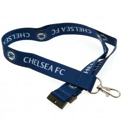 Chelsea Football Club Crest Blue & White Nylon Lanyard & Metal Clip