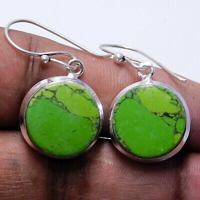 Synthetic Turquoise 925 Sterling Silver Plated Handmade Jewelry Earring 8 Gm