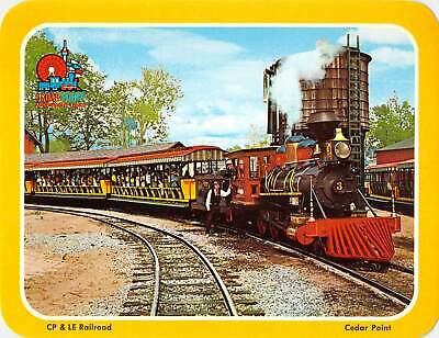 postcard BIG 5.25x6.75 CP & LE Railroad Train to Frontier town Cedar Point OHIO