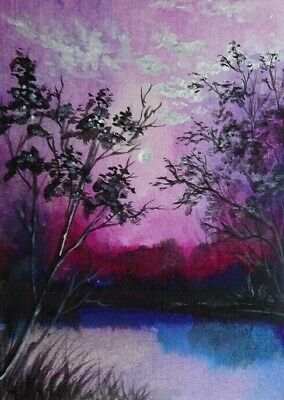 Summer Night - Original 100% Hand Painted Aceo Acrylic Painting Canvas Art Card