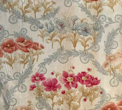 BEAUTIFUL PIECE LATE 19th CENTURY FRENCH FINE LINEN COTTON, POPPIES 469