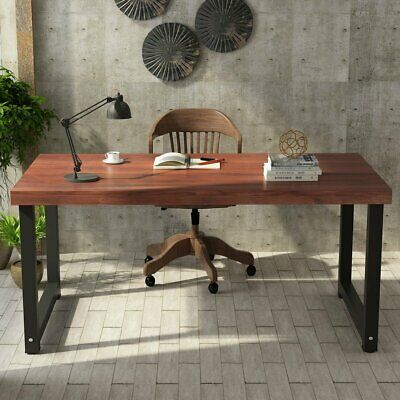 Rustic Solid Wood 55'' Home Office Computer Desk Working Study Workstation New