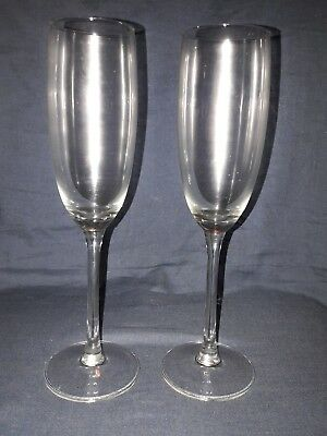 2 Vintage Clear Glass Champagne Flutes.