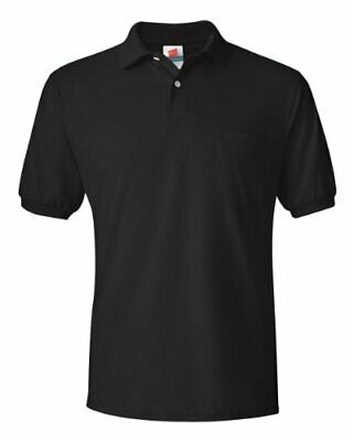 Hanes Mens 5.2 Oz. 50/50 EcoSmart Jersey Pocket Polo(054P)-Black-L