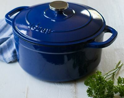 Lodge 5.5-Quart Enameled Cast Iron Dutch Oven, Indigo