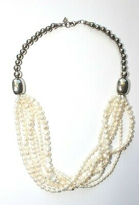 Silpada Multi Strand Pearl Sterling Silver Necklace N1565 Hammered Bead $199