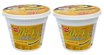 (1,38€/100g) [ 2x 65g ] Mi Ly A-One Instant Cup-Nudeln [ Currygeschmack ]
