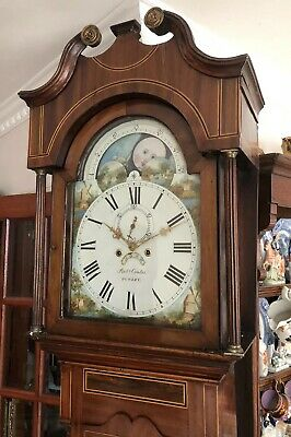 Antique Long Case Grandfather Clock 8 Day Moon Phase C1860
