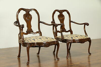 Pair of French Carved Antique Beech Chairs, Upholstered Seats #31767