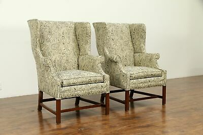 Pair of Vintage Mahogany Wing Chairs, New Upholstery #31772