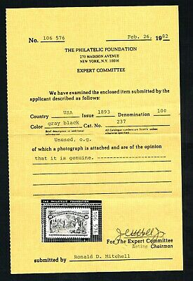 CKStamps: US Stamps Collection Scott#237 10c Columbian Mint NH OG with PF Cert
