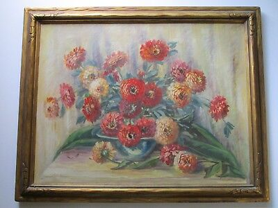 Antique Painting By Mitchell Large Floral Art Deco American Still Life Flowers