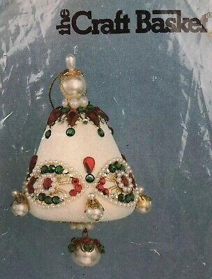 Vintage The Craft Basket Christmas Bell Ornament Kit Holly Chimes 516694 NEW