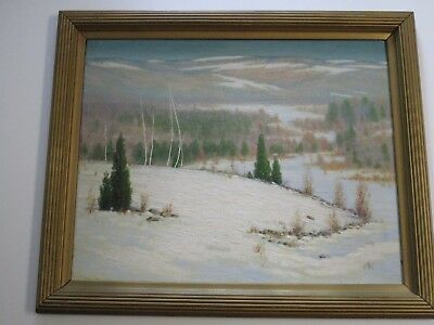 Antique Painting Fred Daniels Landscape American Massachusetts New York Winter