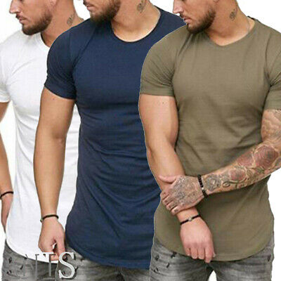 Men's Muscle Zipper Short Sleeve Tops Round Neck Summer Slim Fit T-Shirt Blouse