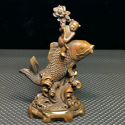 Japanese Netsuke Collectible Old Vintage Boxwood Child Ride Fish Figure Statue