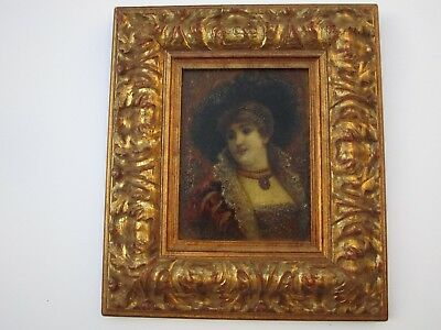 Antique Unusual Portrait Painting 19Th Century Female Woman Model Vintage Old