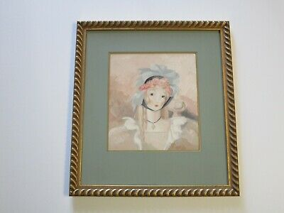 Antique Vintage Art Deco Portrait Painting By Margo Alexander Pretty Female Mod